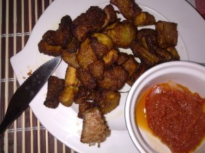 Marie and I got some bomb fried plantain from Ndé Restaurant Africain...and that tomato garnish though!!!