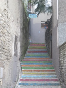 Colorful stairs near the castle