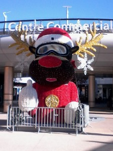 A giant reindeer hanging out at Oddyseum (a large shopping outlet
